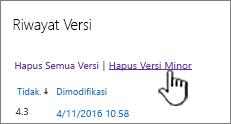 Kotak dialog versi dengan Hapus versi minor disorot