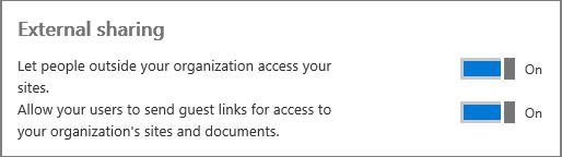 Cuplikan layar berbagi Eksternal diaktifkan di pusat admin.