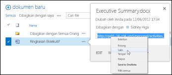URL dokumen SharePoint di callout dokumen