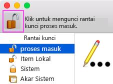 Klik ikon gembok besar untuk mengunci rantai kunci