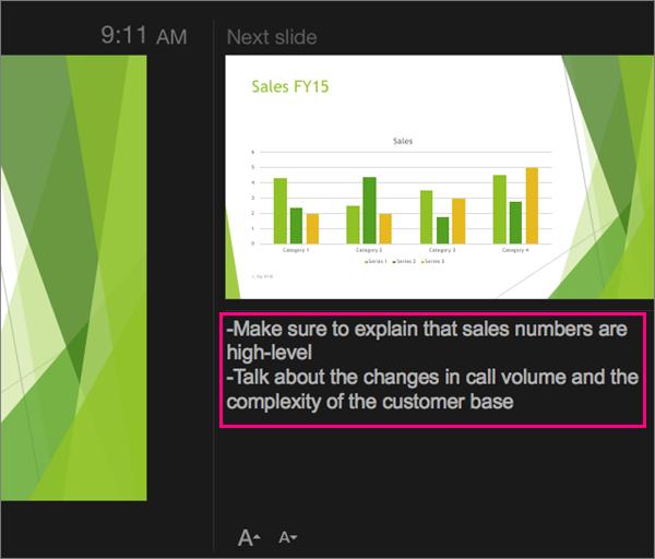 Memperlihatkan catatan dalam Tampilan Penyaji di PowerPoint 2016 untuk Mac