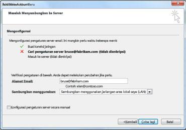 Kotak dialog Tambahkan Akun Baru mengindikasikan akun tidak dapat dikonfigurasikan