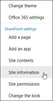 Link informasi situs SharePoint