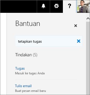 Cuplikan layar panel Bantuan Planner dengan Tetapkan Tugas dalam kotak Beri Tahu Apa Yang Ingin Anda Lakukan.