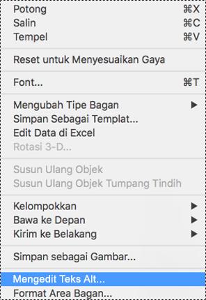 Menu konteks untuk bagan dengan opsi teks Alt dipilih.