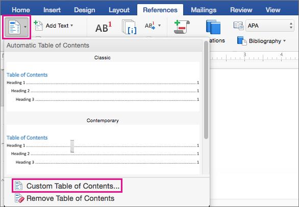 Klik Daftar Isi pada tab Referensi untuk menampilkan menu, lalu klik Daftar Isi Kustom.