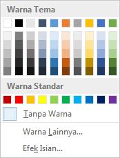Opsi warna halaman di pita