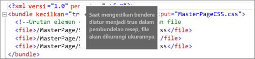 Cuplikan layar bendera minify diatur ke true