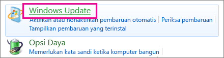 Link Pembaruan Windows di Panel Kontrol