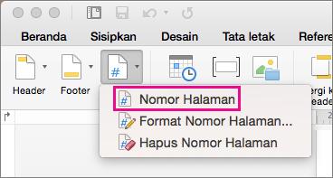 Pada tab Header & Footer, klik Nomor Halaman pada menu Nomor Halaman untuk menambahkan nomor halaman.