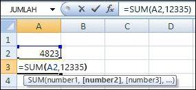 Menggunakan fungsi SUM untuk menambahkan sel dan nilai