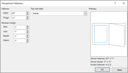 Dialog penyetelan halaman tipe tata letak