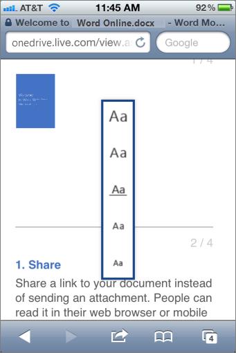 Memilih ukuran font di Mobile Viewer untuk Word