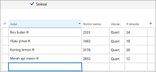 Layar edit cepat dengan kolom dan data ditambahkan