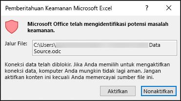 Pemberitahuan keamanan Microsoft Excel-mengindikasikan bahwa Excel telah mengidentifikasi potensi masalah keamanan. Pilih Aktifkan jika Anda mempercayai lokasi file sumber, Nonaktifkan jika tidak.