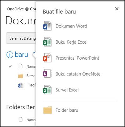 Opsi Office Online yang bisa Anda gunakan dari tombol Baru di OneDrive for Business