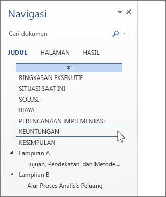 Menelusuri berdasarkan judul di panel Navigasi