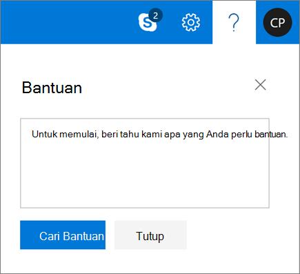 Cuplikan layar memperlihatkan kotak dialog Bantuan tempat Anda dapat memasukkan informasi tentang masalah lalu memilih tombol Dapatkan bantuan.