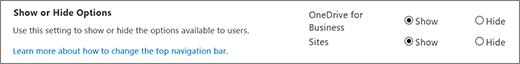 Bagian opsi pengaturan SharePoint SPO Perlihatkan/Sembunyikan