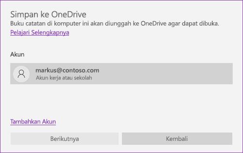 Cuplikan layar perintah Simpan ke OneDrive di OneNote
