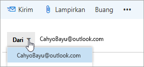 Cuplikan layar memperlihatkan menu menurun alamat Dari.