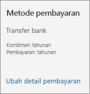 Bagian Metode pembayaran Kartu langganan untuk langganan yang dibayar menggunakan faktur.