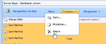 Dari tombol tindakan, klik Hapus untuk menghapus data yang dipilih