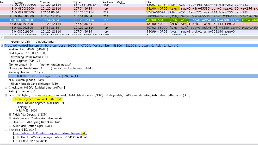 Jejak difilter di Wireshark oleh tcp.options.mss untuk Max Segment Size (MSS).