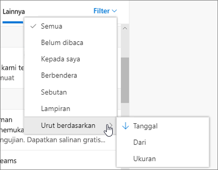 Memfilter email dalam Outlook di web