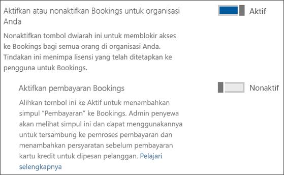 Cuplikan layar: memperlihatkan kontrol admin Pemesanan dari halaman Layanan & Add-In