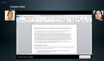 Cuplikan layar sesi berbagi program dengan opsi ukuran sebenarnya yang ditampilkan