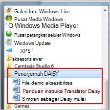 Menu Mulai memperlihatkan file Daisy setelah instalasi