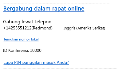 Outlook Web App, info Bergabung Dalam Rapat Online di permintaan rapat