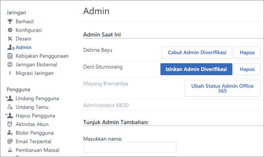 Cuplikan layar memperlihatkan daftar admin