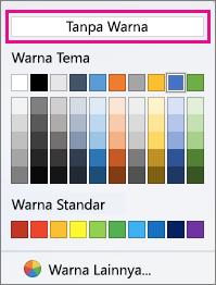 Opsi Warna bayangan dengan Tanpa Warna disorot.