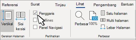 Pengaturan penggaris pada tab tampilan