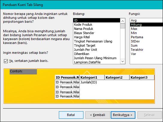 Pilih bidang dan fungsi untuk melakukan penghitungan pada Panduan kueri tab silang.