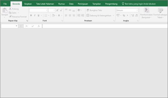 Jendela Excel kosong dengan tombol tidak tersedia; Buku kerja tidak terbuka.