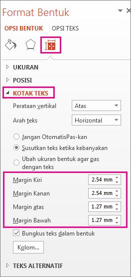 Opsi Kotak Teks pada panel Format Bentuk
