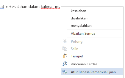 Menu klik kanan kata salah eja opsi Atur Bahasa Pemeriksa Ejaan