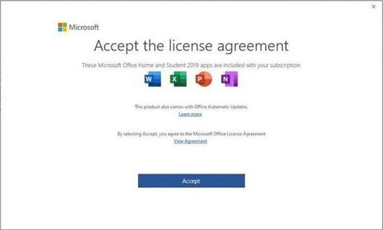 Perjanjian lisensi pengguna akhir Microsoft Office 2019.