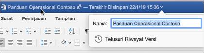 Mengklik judul dokumen memungkinkan Anda mengganti nama file atau melihat Riwayat Versi