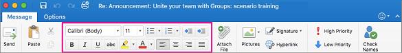 Opsi pemformatan di pita dalam Outlook untuk Mac