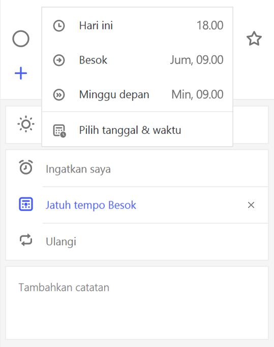 Cuplikan layar memperlihatkan detail yang menampilkan dengan mengingatkan saya dipilih