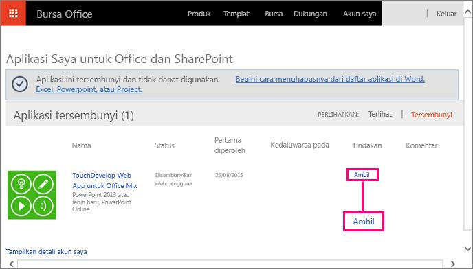 Memperlihatkan link Ambil di aplikasi untuk Office dan situs SharePoint
