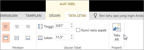 Cuplikan layar memperlihatkan tab Tata letak Alat Tabel dengan kursor yang menunjuk ke opsi Teks Alt.