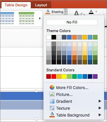 Cuplikan layar memperlihatkan tab desain tabel tempat panah menurun bayangan dipilih untuk memperlihatkan opsi yang tersedia tanpa isian, warna tema, warna standar, lebih banyak warna isian, Gambar, gradien, tekstur, dan latar belakang tabel.