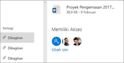 Memperlihatkan siapa yang memiliki akses ke file bersama