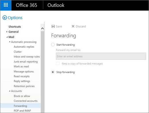 Cuplikan layar memperlihatkan halaman opsi pengalihan dengan berhenti pengalihan opsi yang dipilih.