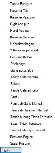 Dalam kotak dialog Temukan dan Ganti, pilih Khusus, lalu pilih salah satu opsi dalam daftar menurun.